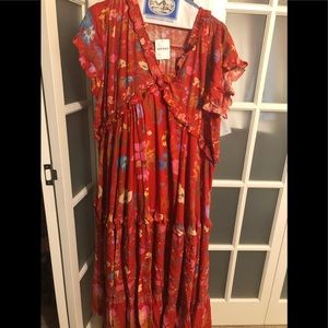 NWT spell designs wild bloom maxi XS red